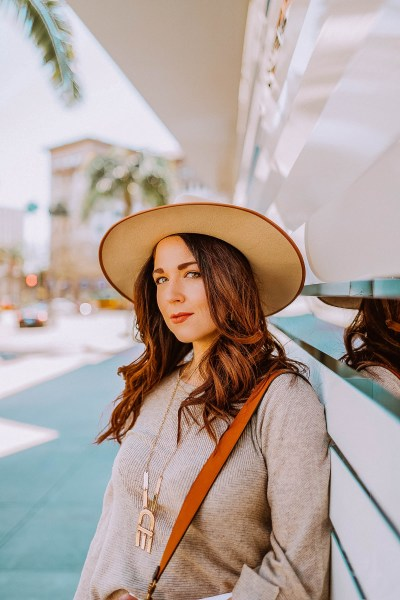 Girl wearing Winter neutrals outfit Beverly HIlls
