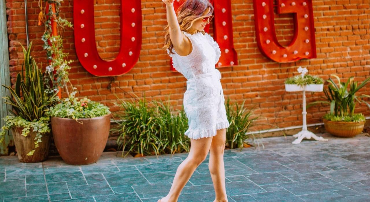 girl wearing white affordable summer dresses