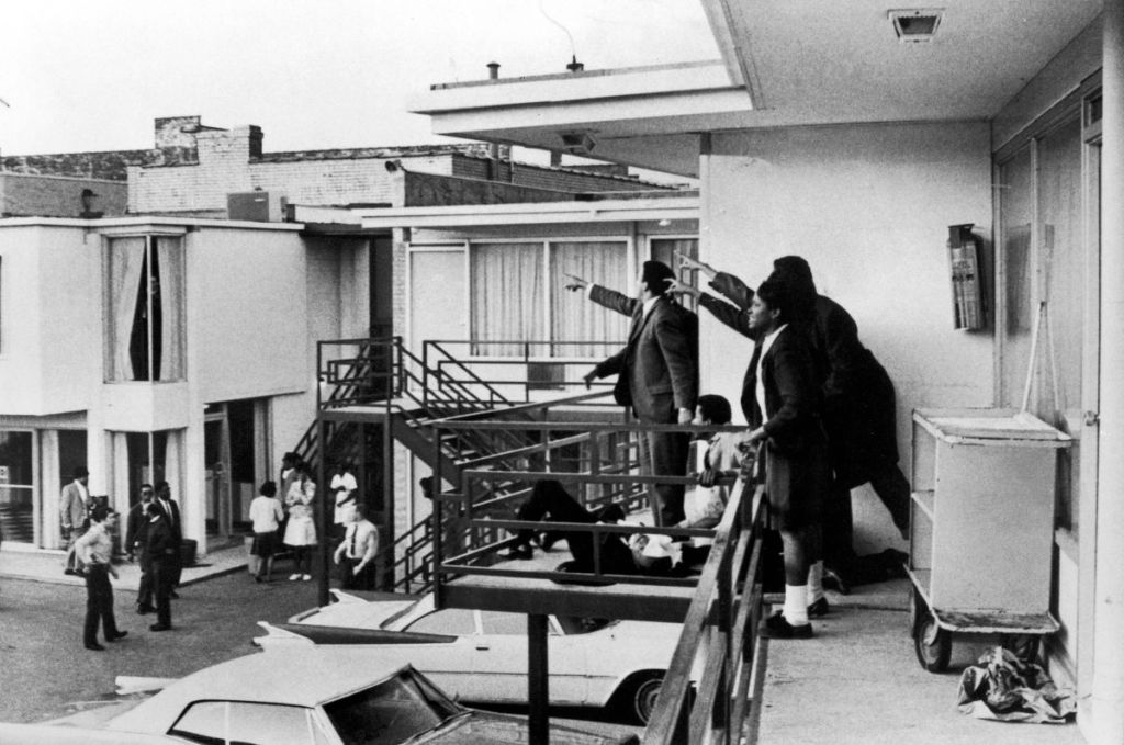 TENNESSEE, UNITED STATES - APRIL 04:  Civil rights leader Andrew Young (L) and others standing on balcony of Lorraine motel pointing in direction of assailant after assassination of civil rights leader Dr. Martin Luther King, Jr., who is lying at their feet.  (Photo by Joseph Louw/The LIFE Images Collection/Getty Images)