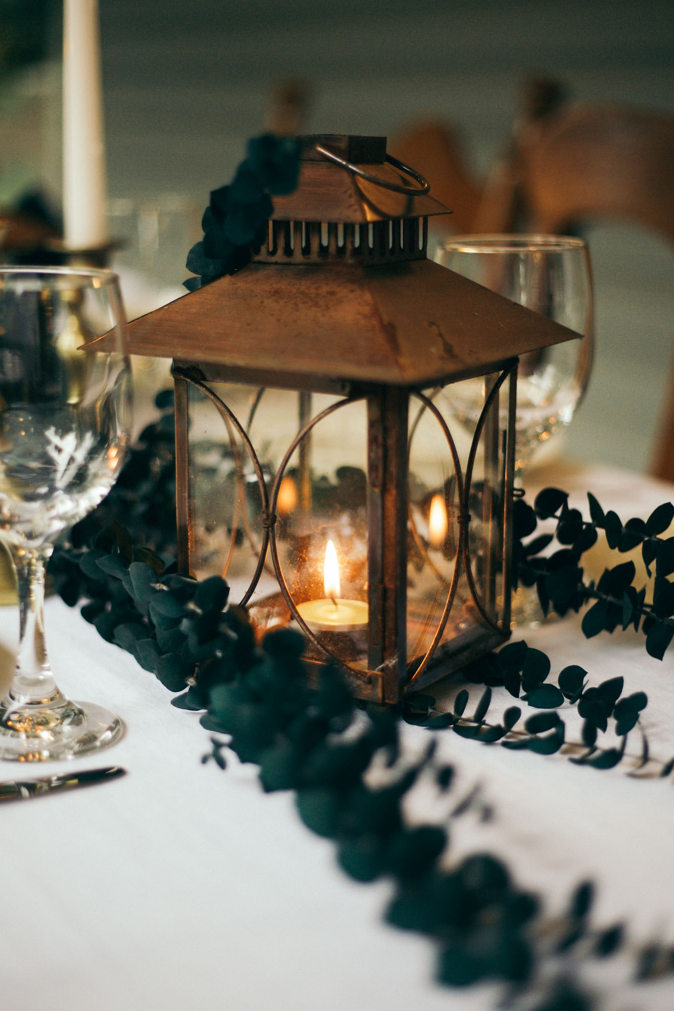 copper lantern table setting