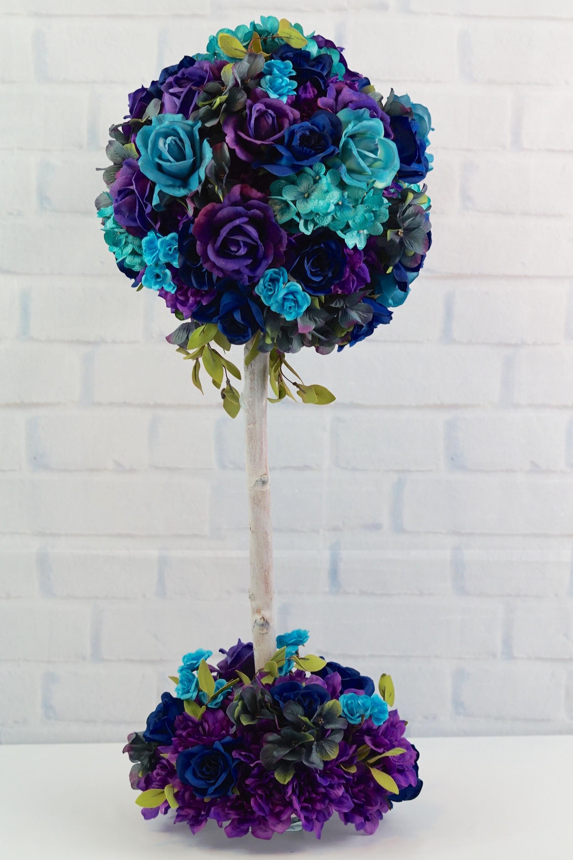 Diy Peacock Inspired Blue And Purple Wedding Centerpiece