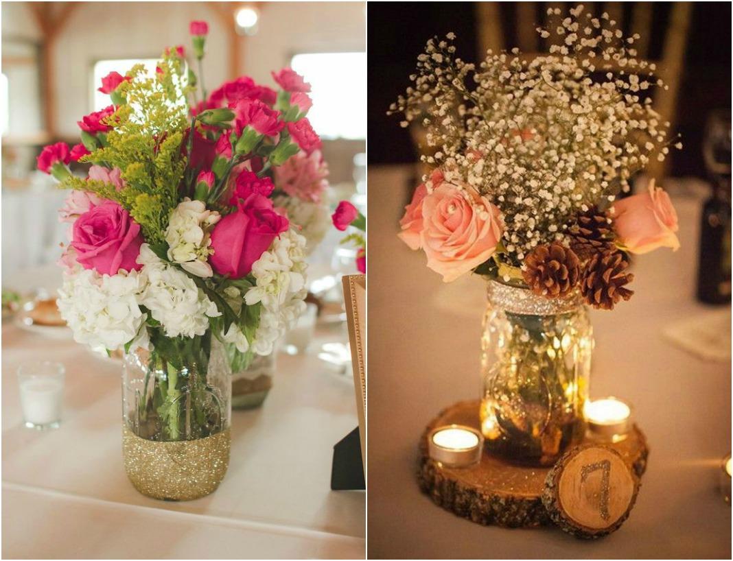 10 Beautiful Mason Jar Wedding Centerpieces on a Budget