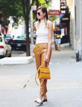 2. summer top with mustard leather trousers - 9 Chic Night Out Outfits Ideas