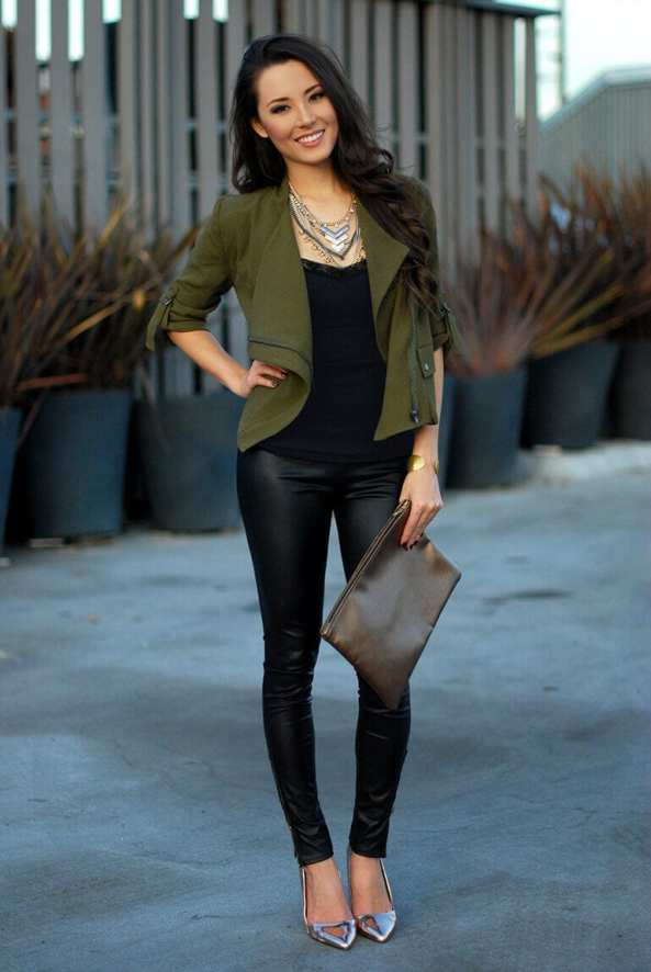 3. layered necklace with military blazer and leather leggings - 7 Chic Outfit Ideas: What to Wear with Leggings