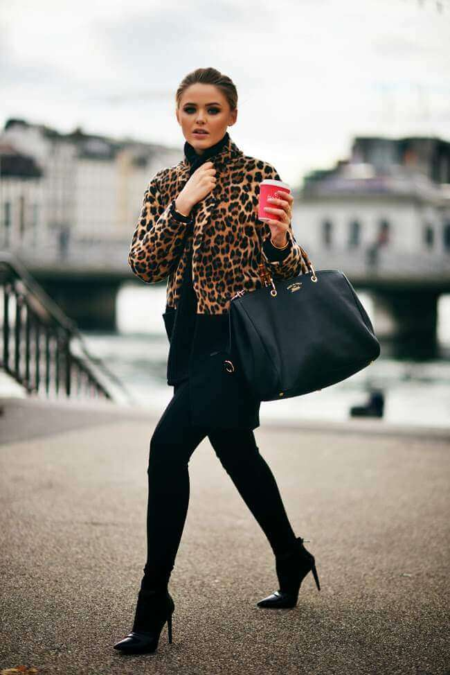 5. leopard print coat with leggings and boots - 7 Chic Outfit Ideas: What to Wear with Leggings