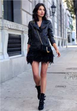 5. studded leather jacket with fur skirt and edgy boots 209x300 - 9 Chic Night Out Outfits Ideas