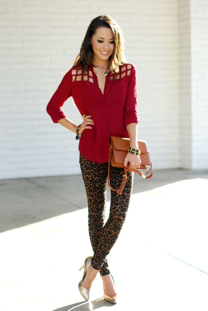 7. leopard leggings with chic top - 7 Chic Outfit Ideas: What to Wear with Leggings