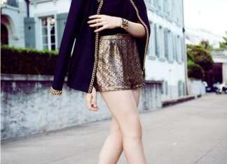 7. metallic gold shorts with blazer - Home