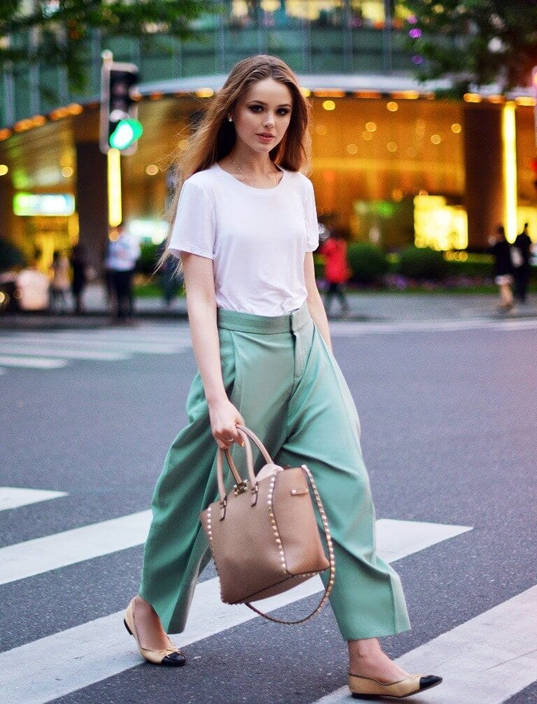 a girl with Mint Green pant