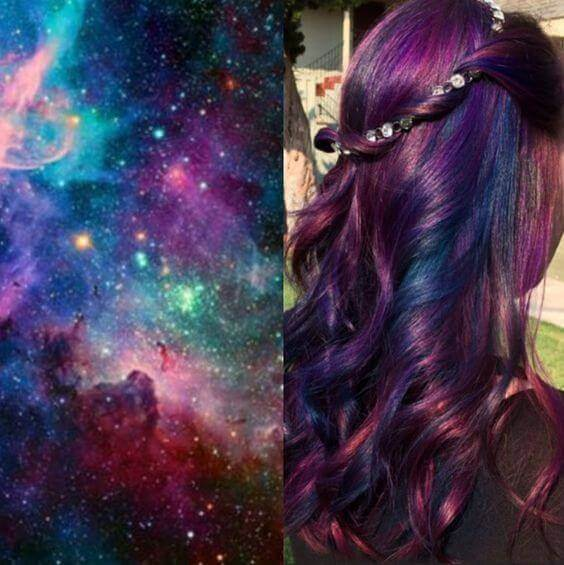 galaxy hair style dark shades - Galaxy Hair: How to Do It At Home and Amazing Hairstyles You Need to Try