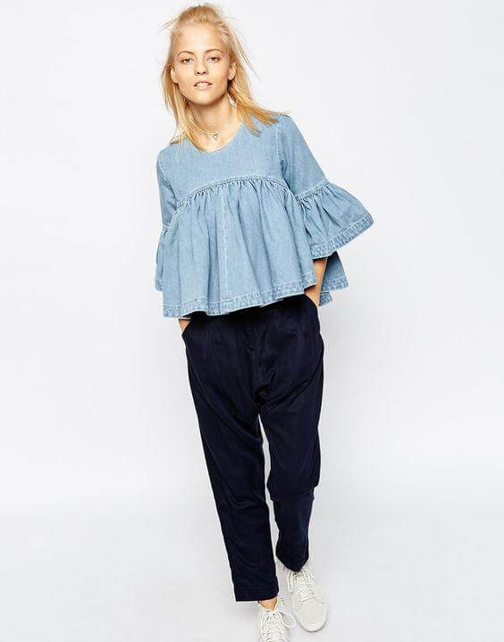 Denim Frilled Blouse with Comfy Pants