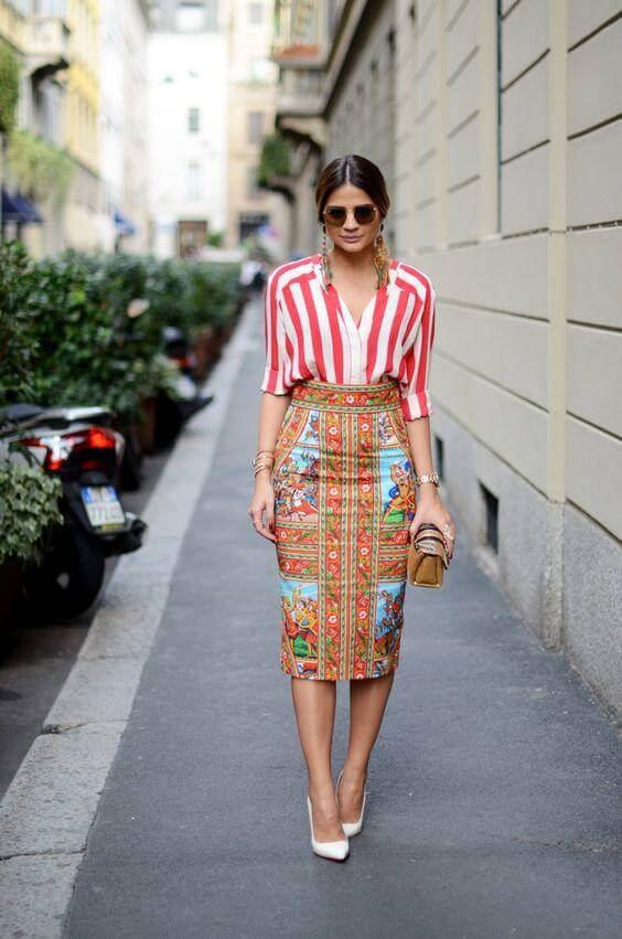 Pencil Skirt with Eye-Catching Prints