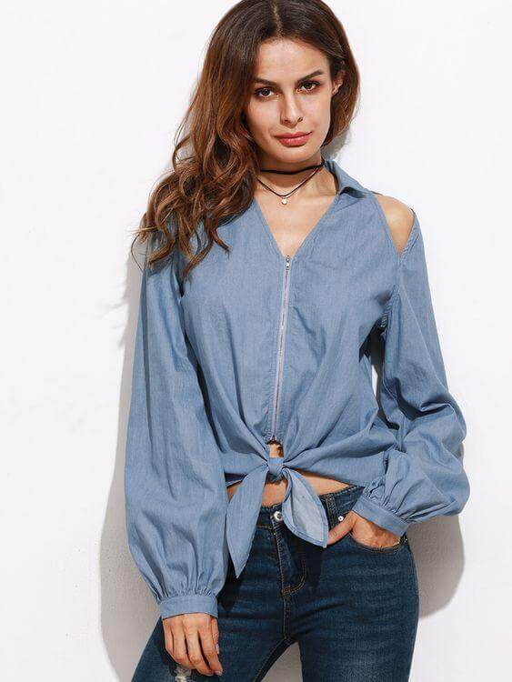 Chambray Shirt Women with Cut out Detailing