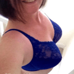 sexy woman in blue lingerie getting older