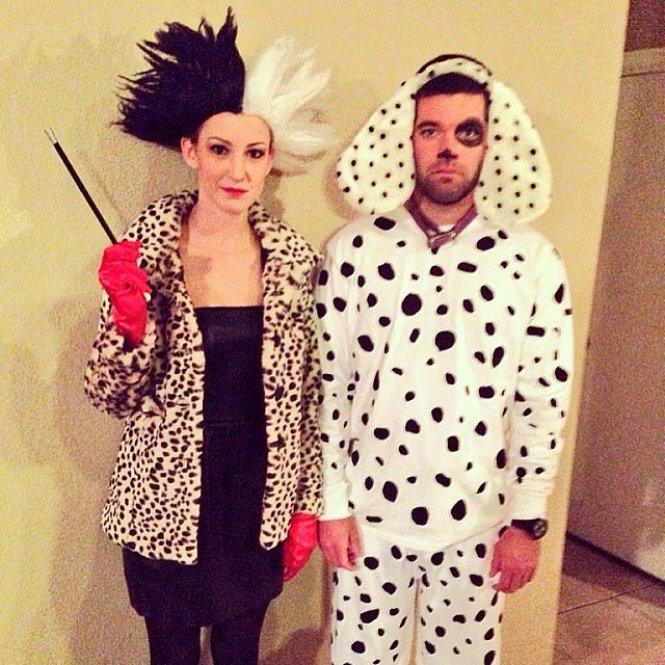 Disfraz pareja Cruella de Vil y Dalmata