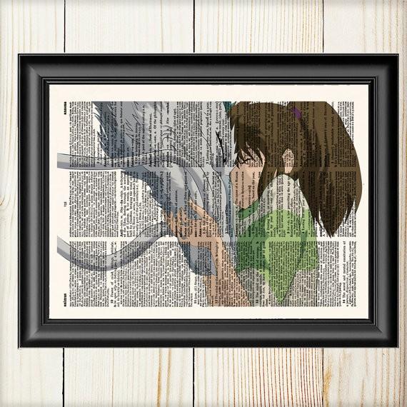 Lamina ilustrada El Viaje de Chihiro Ghibli