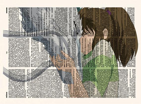 Lamina con texto El Viaje de Chihiro Ghibli