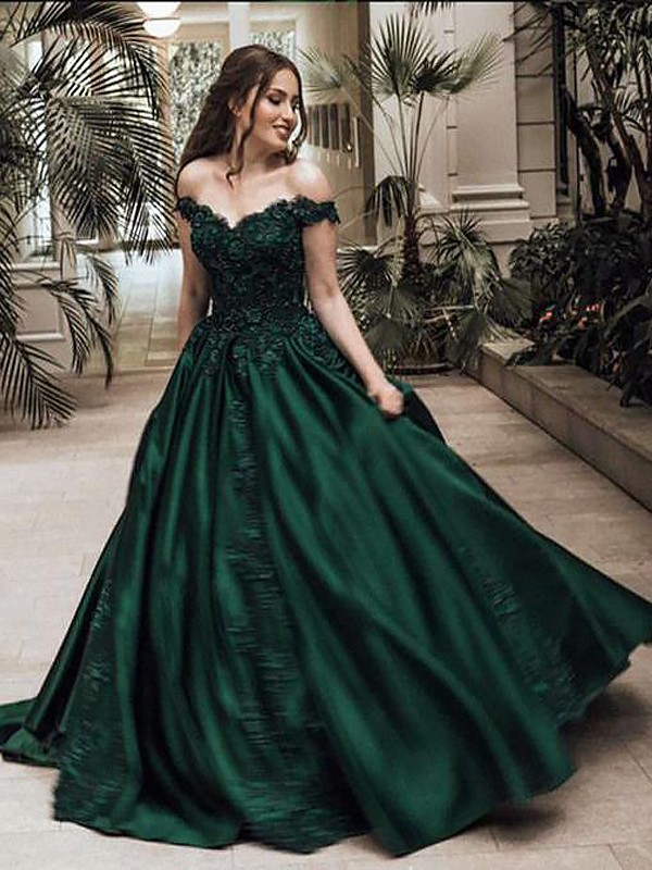 Ball Gown Off-the-Shoulder Sleeveless Floor-Length Lace ...