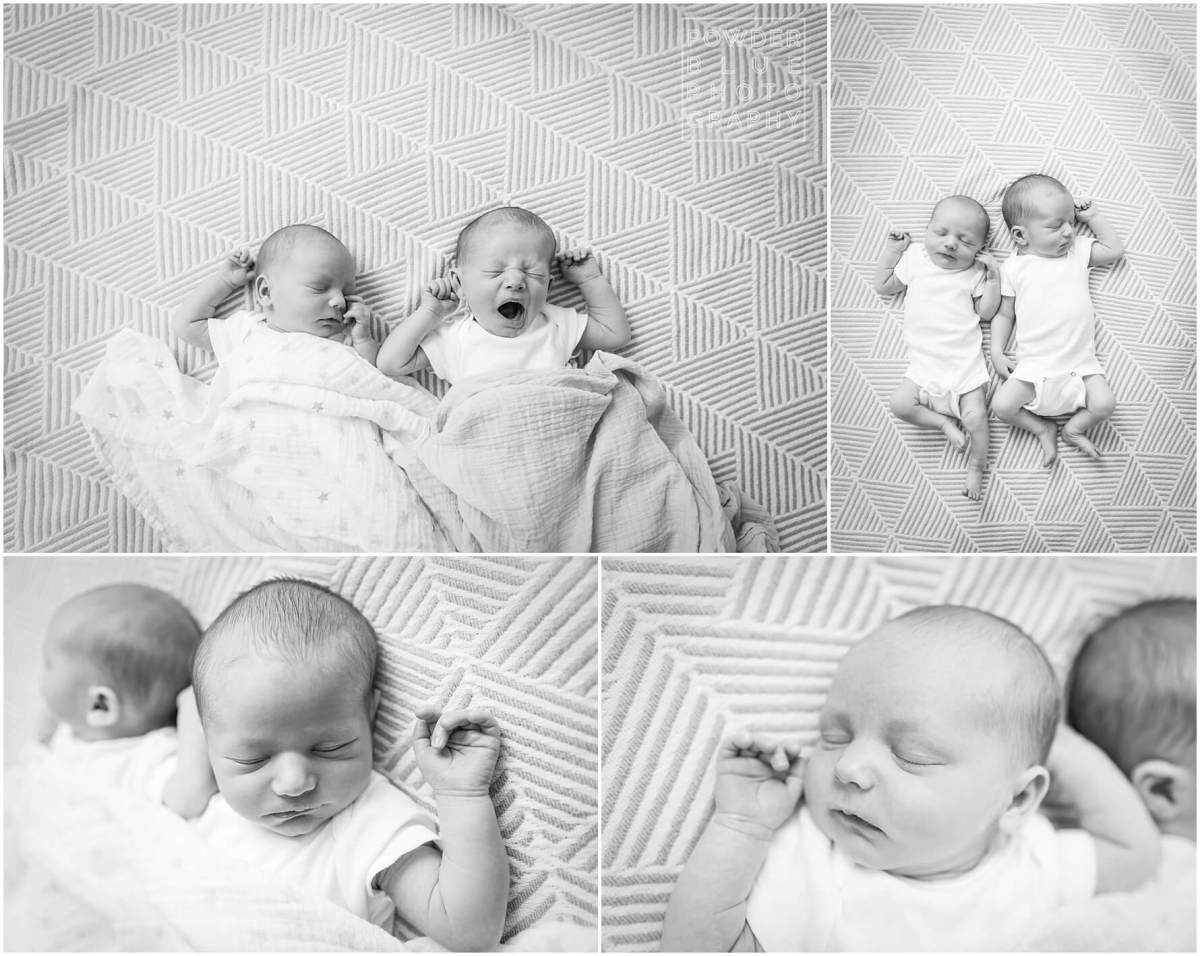 pittsburgh newborn photographer lifestyle photography session at powder blue photography studio. newborn twins lying on a blanket sleeping. fraternal boy girl twins pittsburgh.