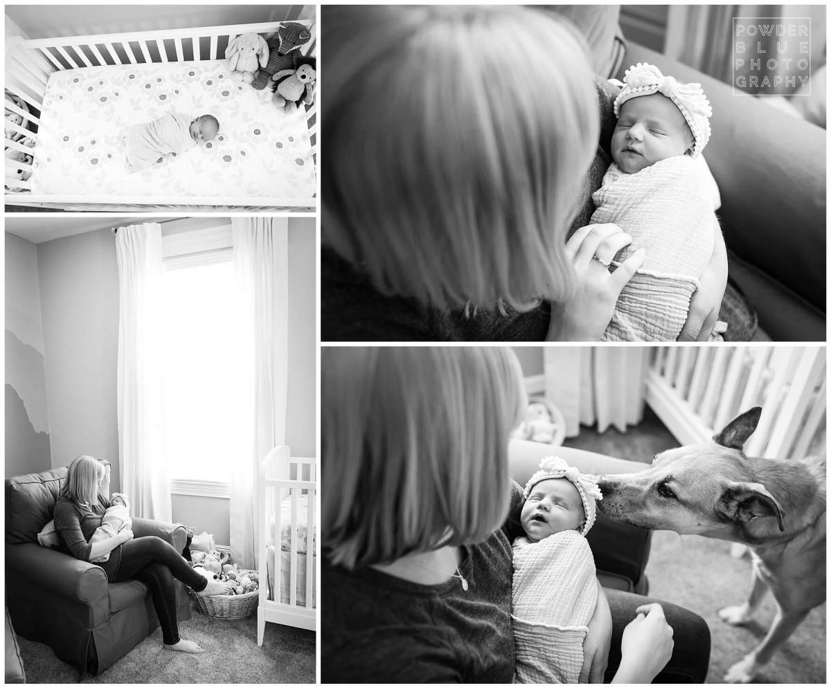 pittsburgh newborn photographer. simple, natural newborn portrait in client home. black and white. nursery. no props.