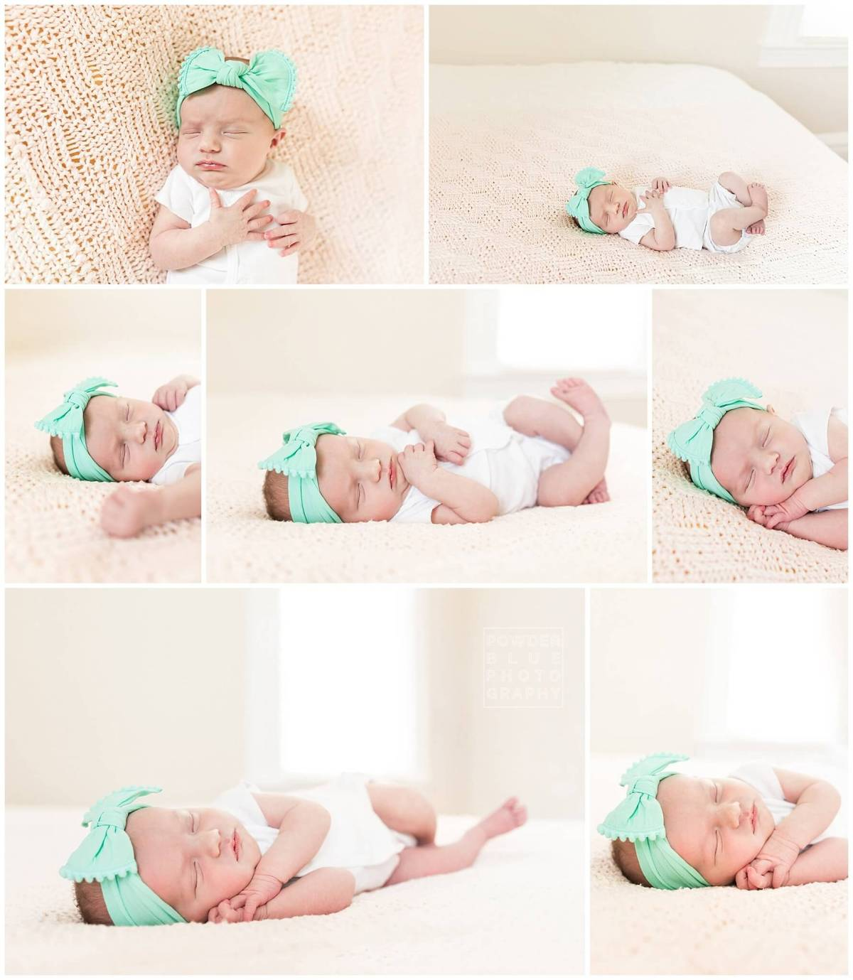 lifestyle newborn images on a bed using window light and fill flash.  newborn baby girl wearing green headband and a white kimono onesie.