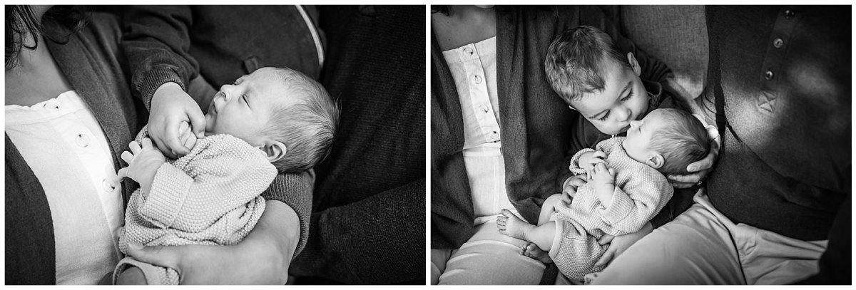 newborn baby boy black and white with brother