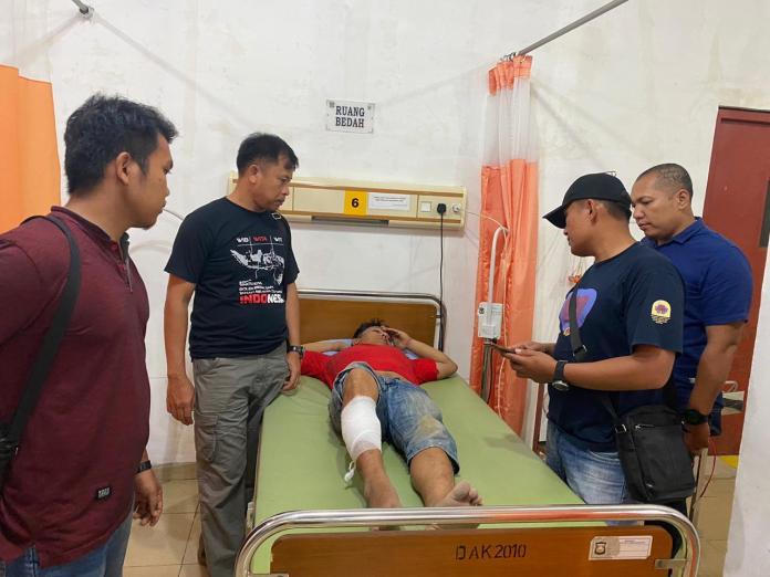 Tersangka Ifan saat mendapat perawatan medis di rumah sakit.(f:mistar/ist)