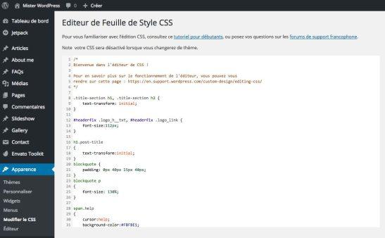Customizer CSS de JetPack