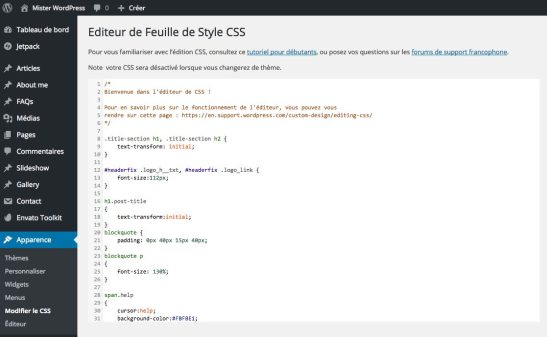 Customizer CSS de JetPack