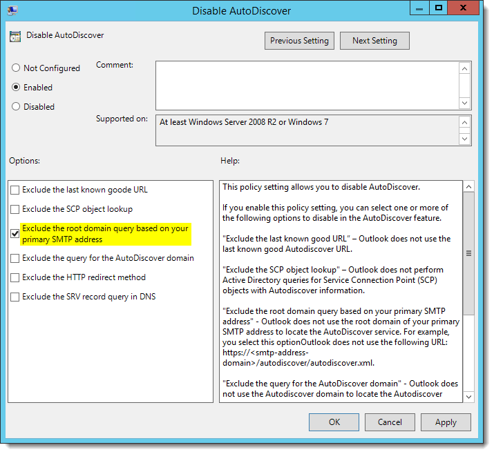 How to resolve slow Outlook 2016 Autodiscover with Office 365
