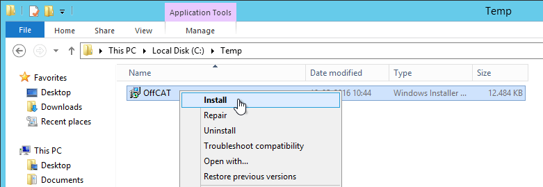 "How to resolve OFFCAT ""must be installed with elevated"
