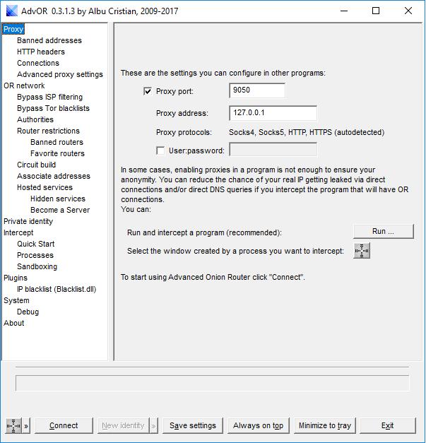 Interface d'AdvOR