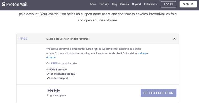 Offres de ProtonMail