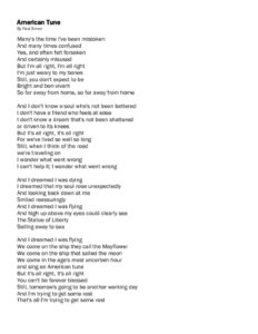thumbnail of American Tune Lyrics