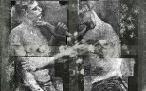 1-I-due-lottatori-sotto-un-quadro-dal-titolo-Natura-morta-con-fiori-di-campo-e-rose-di-Vincent-van-Gogh