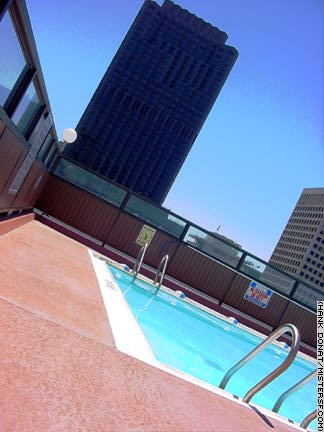The rooftop pool at the Hilton