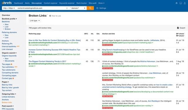 Broken links on a website- Ahrefs link checker