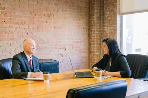 job interview preparation- man and woman interviewing