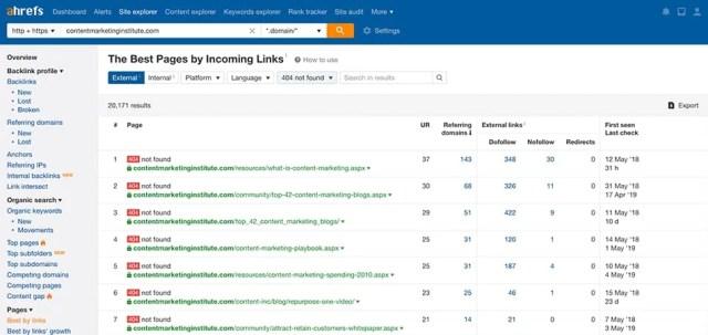 Broken links on a website- Ahrefs broken link checker