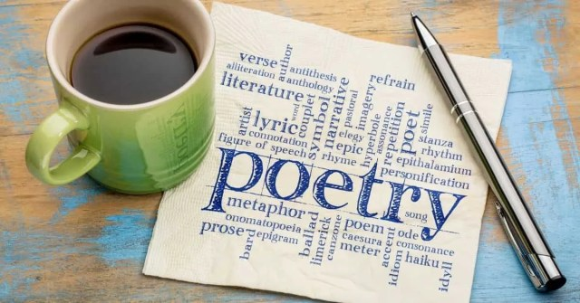 poetry writers- coffee cup with poetry notes and pen