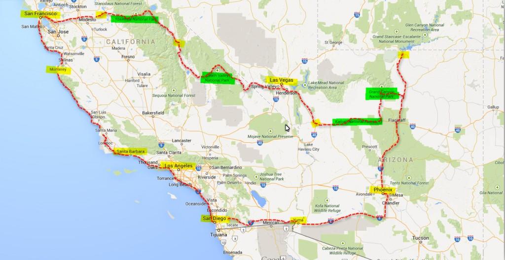 USA-Kalifornien-2015-Karte