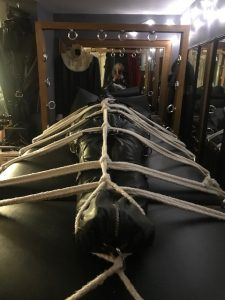 Restrictive bondage at the Leeds BDSM playroom