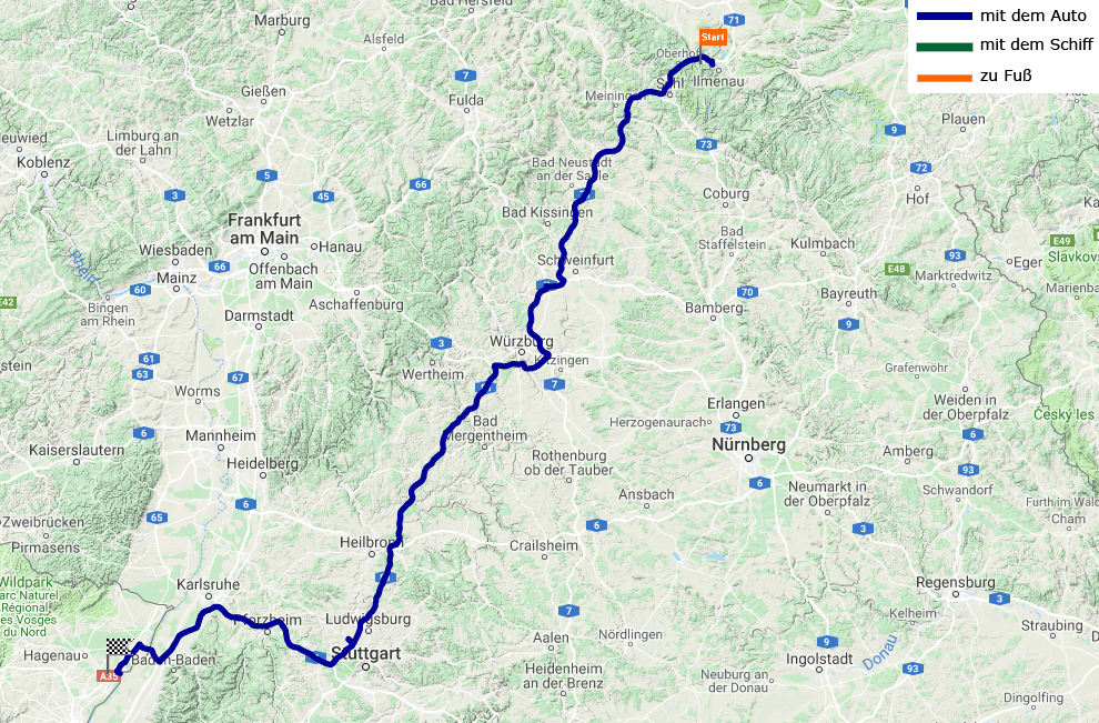 423 Kilometer von Ilmenau bis Drusenheim