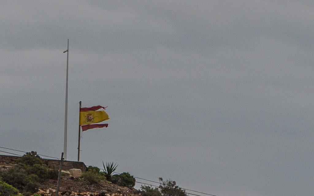 Spanisches Banner trotze dem Sturm