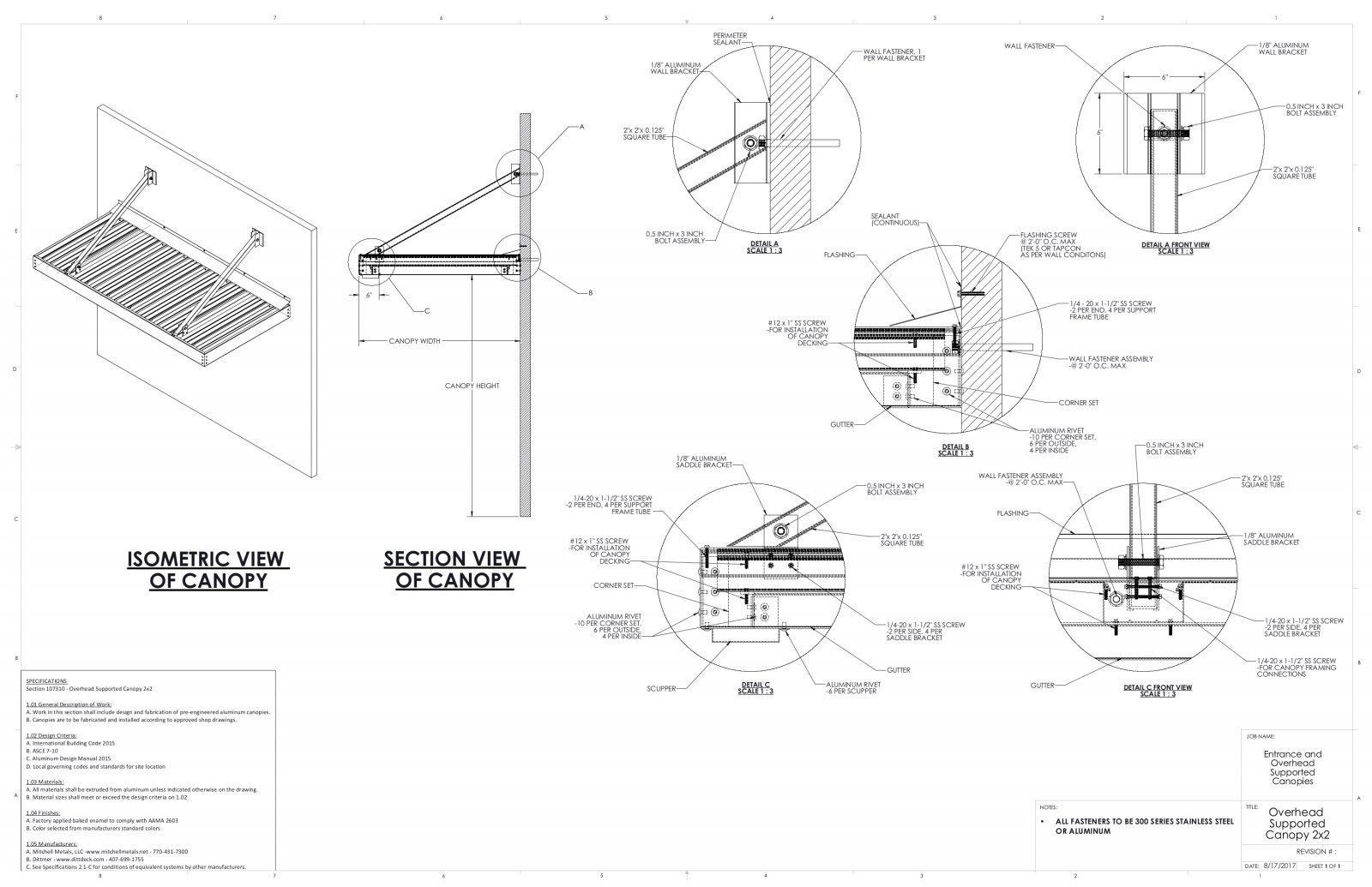 Entrance Overhead Canopy Details Commercial Metal