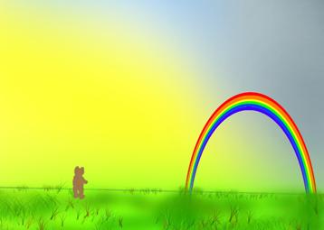 Ein wunderschöner Regenbogen tat sich vor Teddy auf.