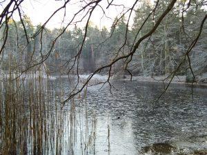 Ein zugefrorener See.