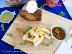chilli salsa with cassava on a wooden board