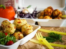mini polenta appetizers balls in a take away container