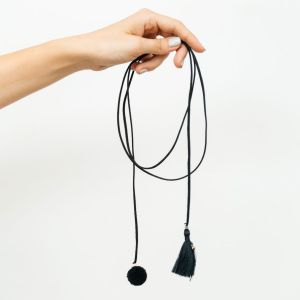 mit Handkuss_Chocker_long_Tassle_Pom Pom_Black